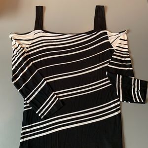 I-N-C Black/White open shoulder Womens L top